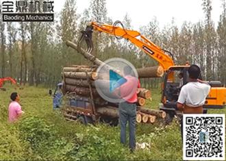 宝鼎主打车型BD95W-9抓木机工作装车实况