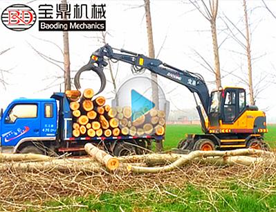 2018款宝鼎BD95w-9抓木机实地装车工作介绍-宝鼎抓木机厂家