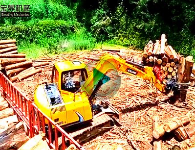 抓木机 宝鼎公司履带式80型号抓木机装车工作介绍