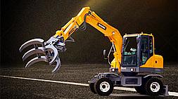 宝鼎新款小型轮式挖掘机抓木机耐久性能更可靠、更强化