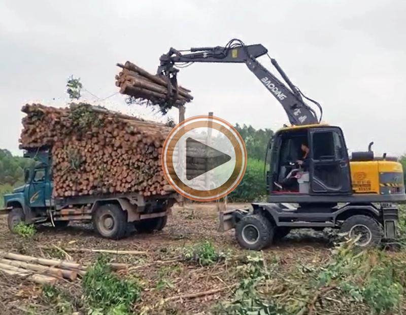 95抓木机视频-熟练抓木机手宝鼎95抓木机操作使用方法