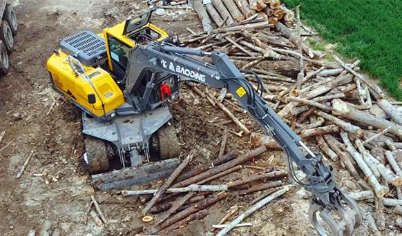 新款95抓木机型号-宝鼎BD95W-9H轮式抓木机-抓木机厂家