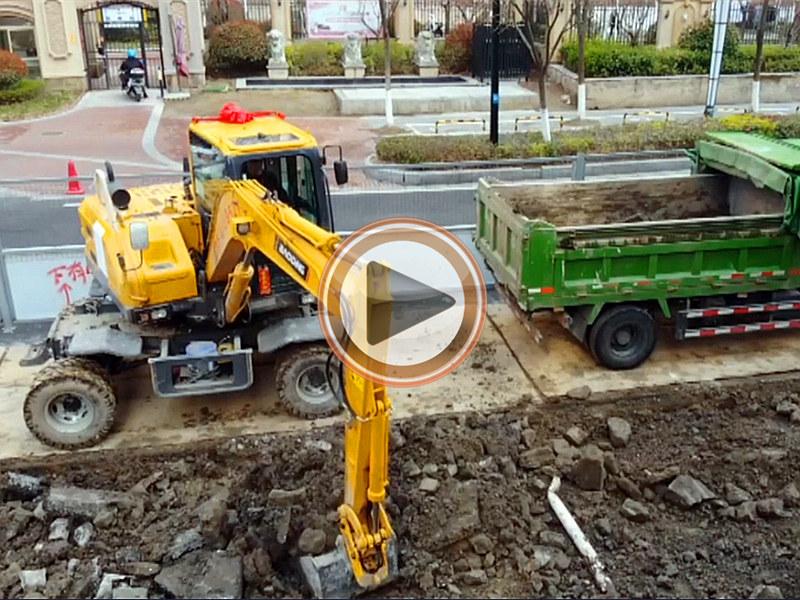 宝鼎80轮式挖掘机综合工况视频