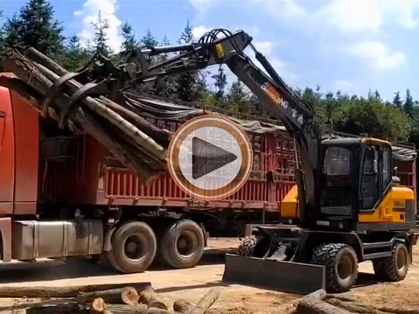 宝鼎轮式挖掘机抓木机厂家主要产品工作视频