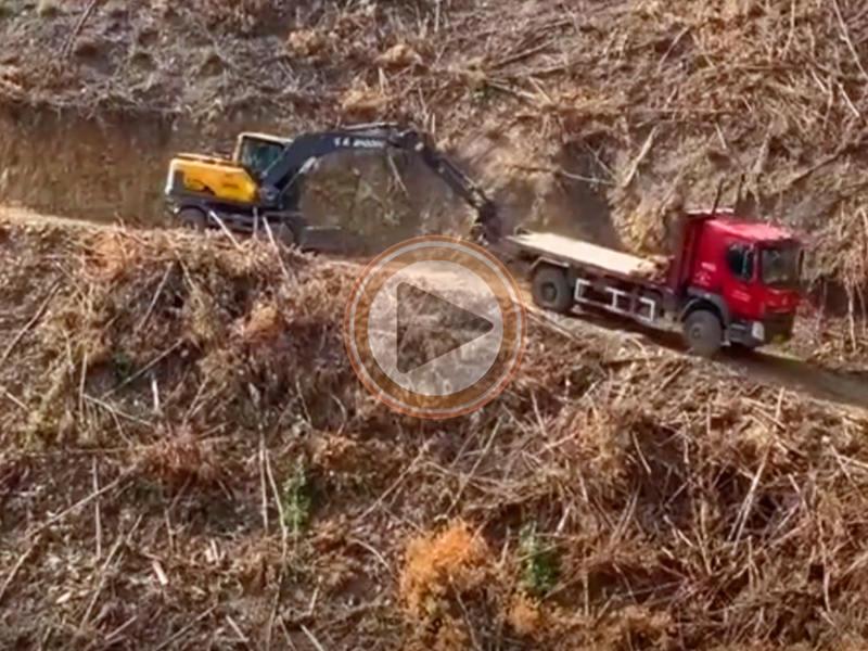 宝鼎轮式抓木机产品山地作业爬坡能力展示