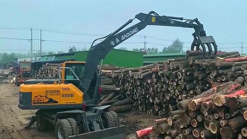 宝鼎BD105W轮式挖掘机抓木机型号使用优势提升竞争力